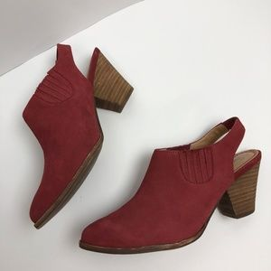 Splendid Avery Slingback Booties Red Suede